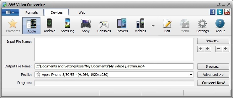 AVS Video Converter Devices Tab