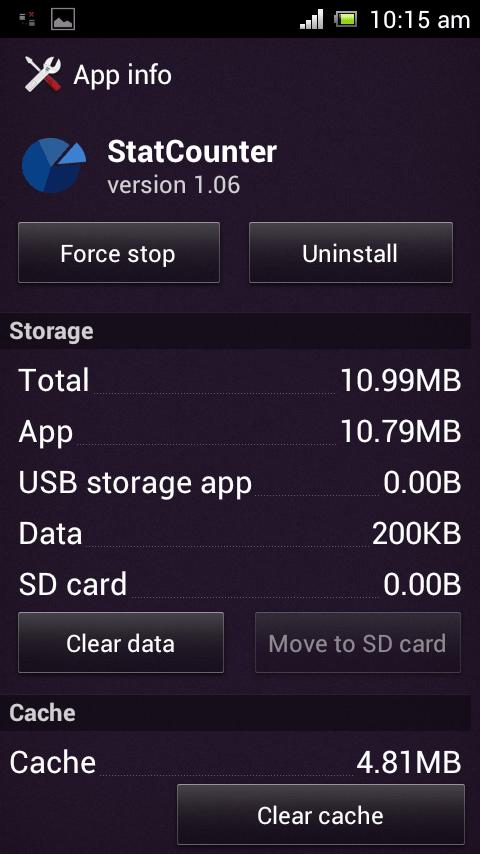 StatCounter Internal Storage usage